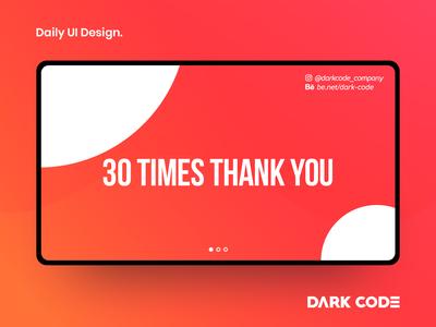 Daily UI Design 30 Times Thank You design ui dribbble orange darkcode dark-code interface design interface thank-you thank you ux ui design dailyui uiux design dark code