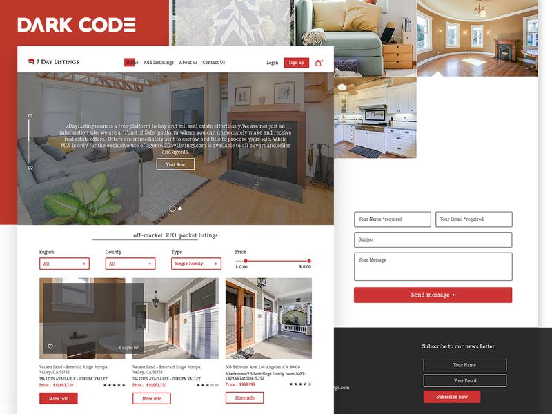 California Real Estate Website - UI Redesign design agency creative redesign cameroon design concept ux ux designer dark code website ui interface design interface ux ui design uiux design