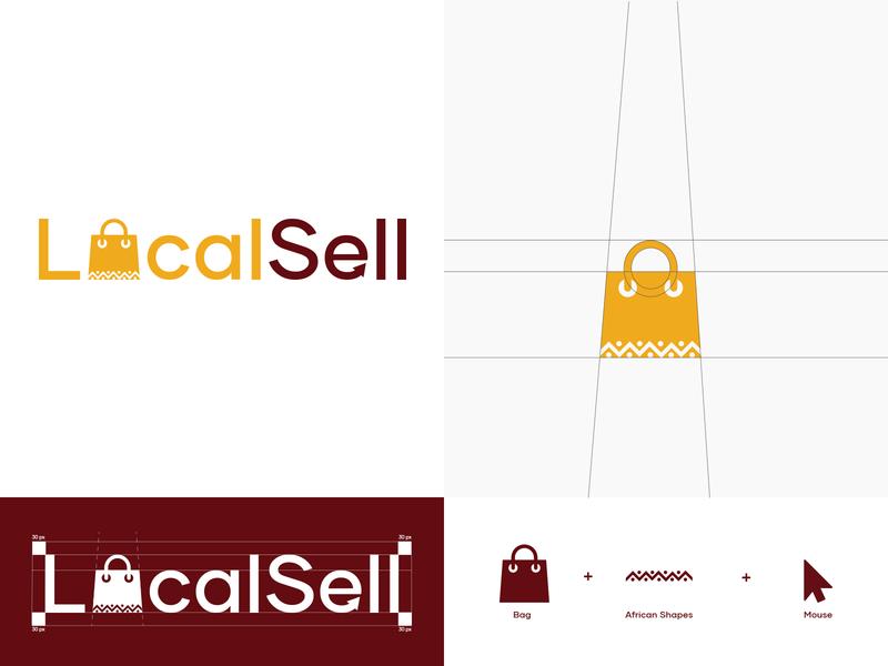 Logo Design for LocalSell african cameroon illustrator conception grid logo grid design logo africa shopping app cameroun visual identity logodesign brand identity branding logogrid dark code design logo design ecommerce design ecommerce