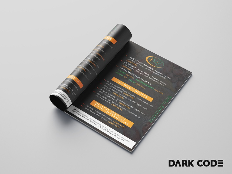 Menu Brochure for D-Fit (Diet Restaurant) restaraunt print design brand identity menu food menu food cameroon restaurant branding restaurant diet branding dribbble dark code