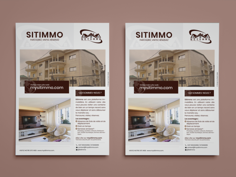 Flyer Design for SITIMMO (Real Estate App) platform studio app virtualreality virtual reality vr design mockup design flyers flyer real estate app mockup flyer design cameroon real estate realestate branding dark code