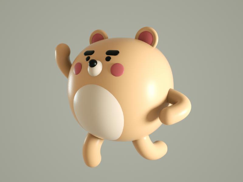 fierce bear octane render cartoon doodle character bear 3d c4d