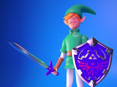 link nintendo master sword octane render fanart 3d hylian hyrule zelda link