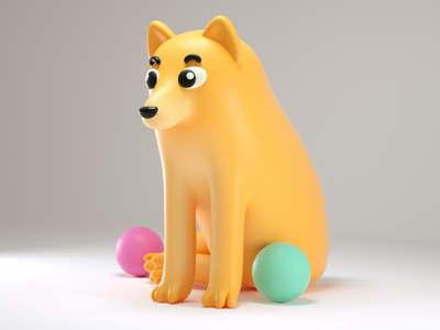 chems the dog cute doodle mims can illustration 3d puppy pet animal dog chems