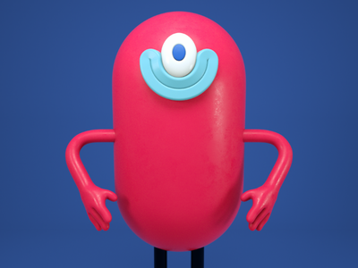 ciclope rojo toy artoy cute doodle funny happy c4d 3d character red monster