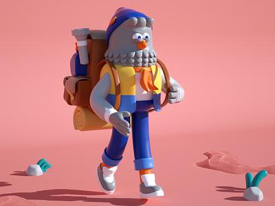 traveler draw doodle bagpack composition walking illustration travel character bird c4d 3d