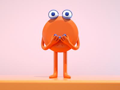 smile 😊 orange draw smiley character doodle illustration 3d monster