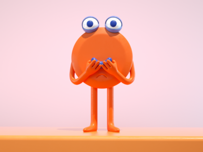 smile 😊 orange draw smiley character doodle illustration 3d monster