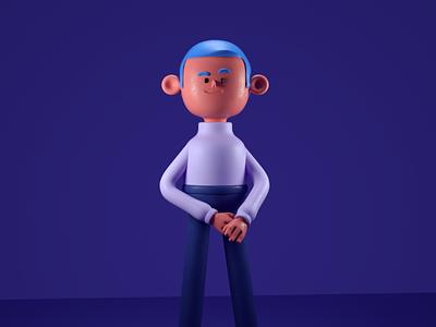 cool guy nice fresh cool human men character illustration render c4d 3d