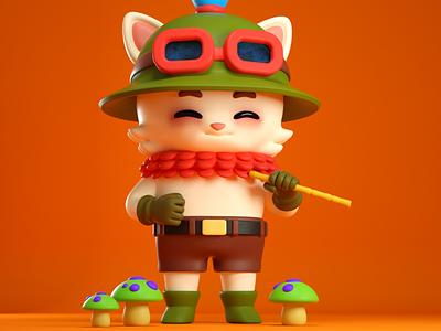 teemo composition c4d character 3d cuteness kawaii cute fanart game lol