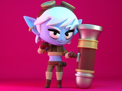 tristana girl illustration warrior 3d character cute kawaii c4d