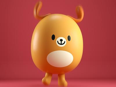 kawaii dog 3d c4d character japan kawaii cute