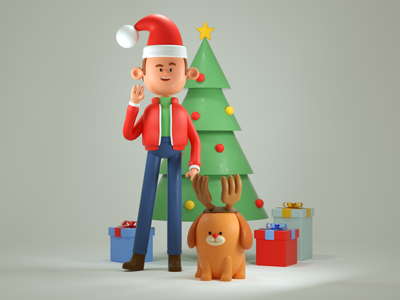 felíz navidad santaclaus render c4d 3d illustration character design holidays christmas