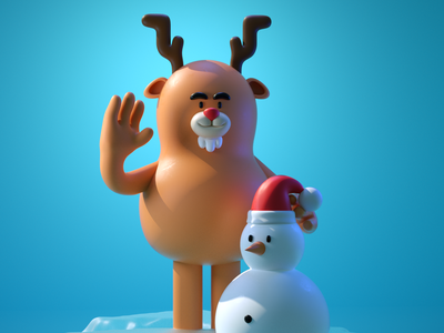 rudolph illustration holidays c4d 3d cute christmas