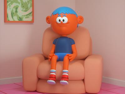 el sillon de pensar kawaii cute sofa character design octane c4d 3d