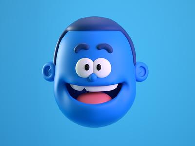 happy illustration cartoon 3d model cute doodle octane render character c4d 3d
