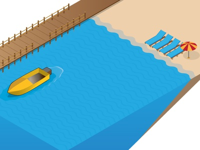 Infographic WIP isometric blue infographic sea sand