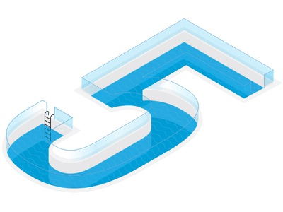 Dribbble is 5! infographic rotate-skew-scale isometric illustration illustrators dribbble is 5!