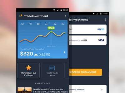 Trade Investment App mobile dashboard stocks stock market daytrade trade investment
