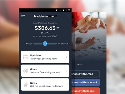 Investment App mobile ui trading shares stocks investment