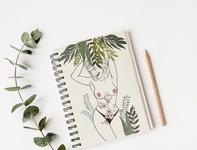 Note Pad Cover illustration book cover cover art tropical digitalart art feminist boobs feminine blackandwhite minimal illustration
