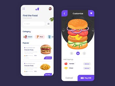 Food Challenge   1 food app ui animation in adobexd typography designer life design ui design creative top design today food app dailychallenge animation in adobe xd adobe xd ux ui