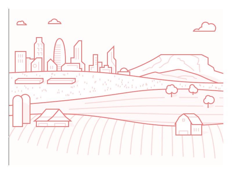 City Illustration 2 plains farmland monochrome line illustration city mesa