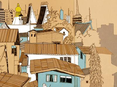 Bangkok view city sketchbook drawing reportage illustration thailand bangkok