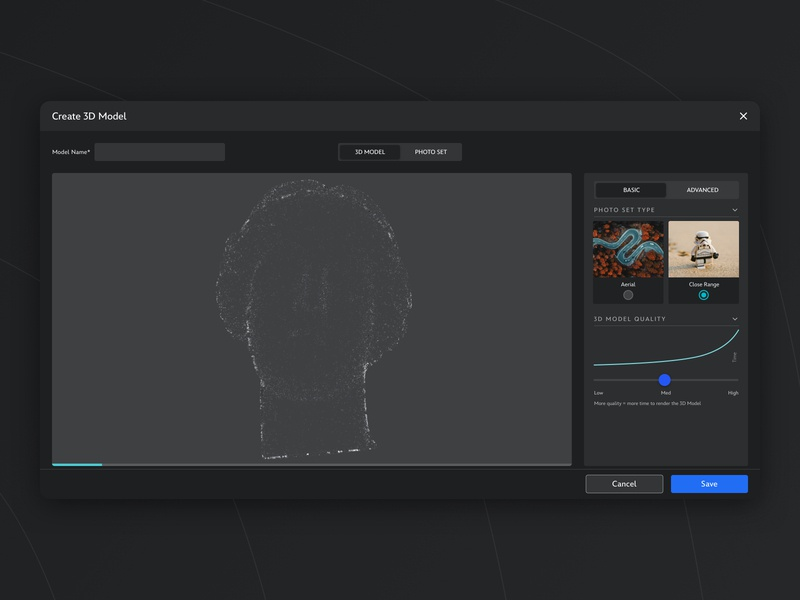 Create 3D Model - Dark UI