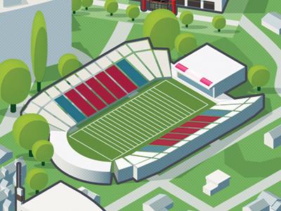 Calgary McMahon Stadium map isometric stadium calgary illustration