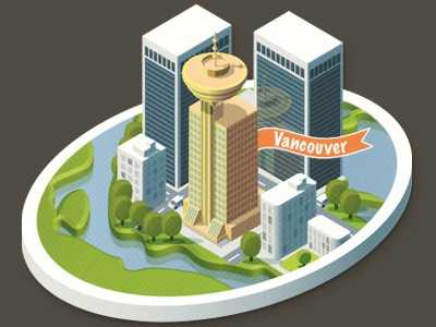 Vancouver Downtown vancouver canada illustration editorial isometric