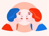 Face to Face sideview portrait pattern mirror woman face illustration