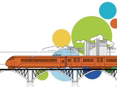 I hear the whistle blowing illustration train florida bubbles lines orange