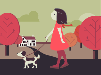 Girl, walking her dog in autumn illustration countryside girl dog fall atumn