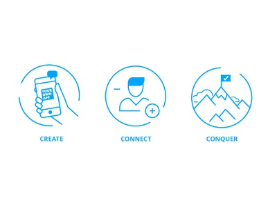 Landing Page Icons employee app circle web illustration conquer connect create staffbase blue line icons