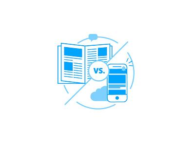 Print vs. Digital employee app circle versus magazine print icon staffbase phone blue illustration