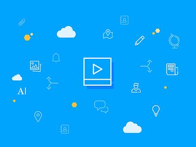 Staffbase Employee app icons video employee app teaser illustration blue staffbase