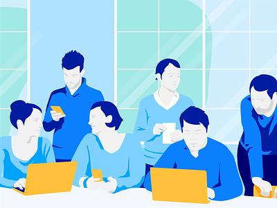 Millennials Workforce devices office workforce generation z millennials employee app teaser illustration staffbase