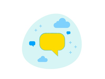 It's all about Communication yellow and blue staffbase employee app chat illustration talk