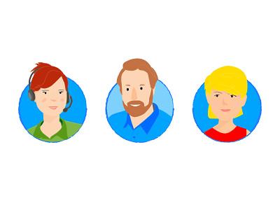 Portraits icon employee app people at work portraits illustration blue and orange staffbase