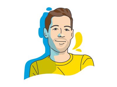 Portrait hello yellow blue staffbase portrait illustration