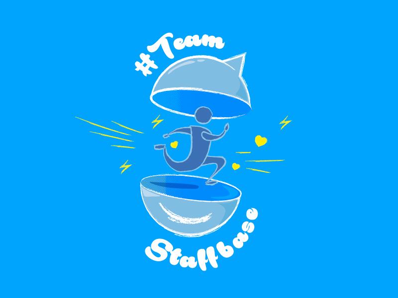 Firmenlauf Teamstaffbase = Company race employee app blue illustration run t-shirt staffbase