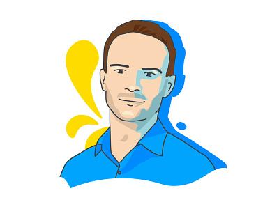 Founder Portrait portrait editorial staffbase blue illustration