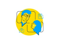 Startpage Illustration Characters dialog vector character design portrait icon staffbase illustration