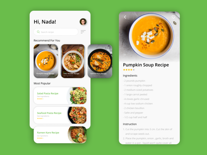 Food Recipes - Mobile App figma ios app android app mobile app green design food
