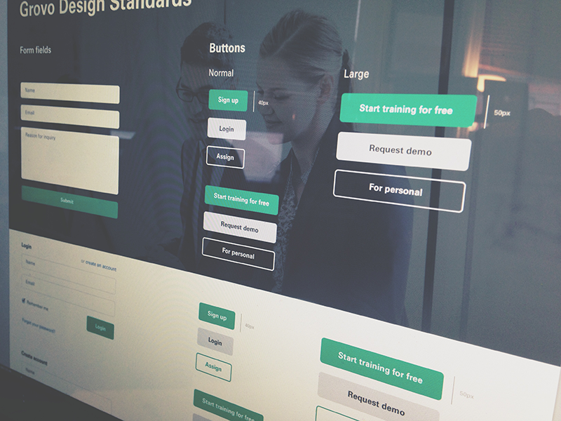 Refreshed buttons & form fields ui grovo web design simple buttons input fields product design flat round style guide