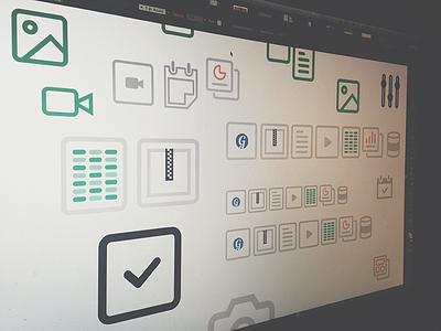 Artboard layout grovo ui iconography artboard process web design simple flat filetypes illustration