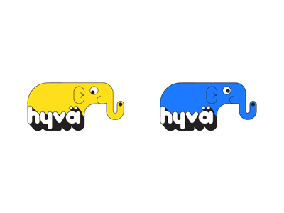 hyvä I typography elephant illustration fun simple product design kids graphic design branding toys