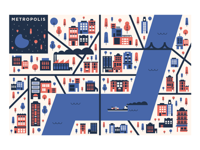 🌆 simple fun map tanker city print design graphic design package design toy illustration