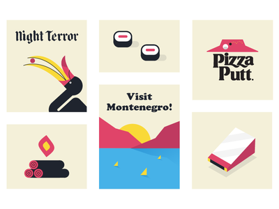 🤷 print sushi bird fire typography graphic design random illustration